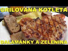 Grilovaná kotleta s marinádou, zelenina a dalamánky s česnekovým máslem - YouTube Steak, Pork, Youtube, Red Peppers, Kale Stir Fry, Steaks, Pork Chops, Youtubers, Youtube Movies