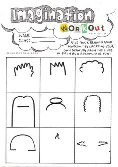 Imagination Workout Drawing Practice for Kids (#Faces Edition) - Easy #Drawing Activities for Kids. Simple, easy and super fun art idea for kids and beginners. @FeedingStickFigures shares simple art lesson and project ideas, fun worksheets, colouring sheets, and #printables for kids to do at home. Easy home activities for kids | Arts and crafts | #ColouringPages | Art development Drawing Activities, Art Activities For Kids, Creative Activities, Art Projects For Teens, School Art Projects, Project Ideas, Drawing For Kids, Art For Kids, Imagination Drawing