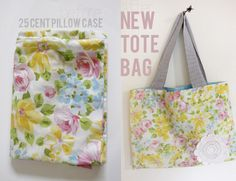See Kate Sew shows you how to turn a thrifted vintage pillowcase into a cute summery tote bag.