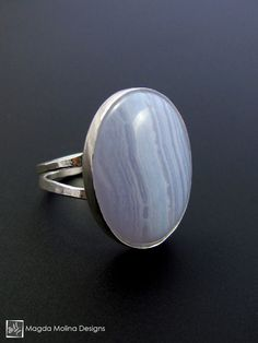 The Hammered Silver And Blue Lace Agate Cabochon Statement Ring
