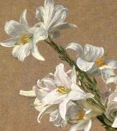 """Roses and Lilies"" (1888) (detail) by Henri Fantin-Latour..."