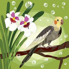 Cockatiel and flower :-) #HAPIdesign #cockatiel #bird #exotic #cute #smile #instalike #instagood #follow #spiral #flower #nature #digitaldrawing #wacom #spiral #mandala