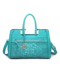 Look what I found on #zulily! Turquoise Floral Cutout Satchel #zulilyfinds