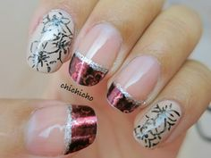Gel Pen Floral and French Nail Wrap   chichicho~ nail art addicts