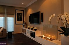 contemporary open flame fireplace