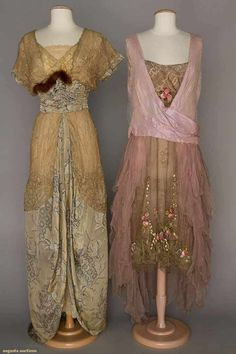 2 EVENING DRESSES, 1910 & 1925 1 blue lame brocade & lace; 1 orchid silk robe de style w/ ribbon flower garlands