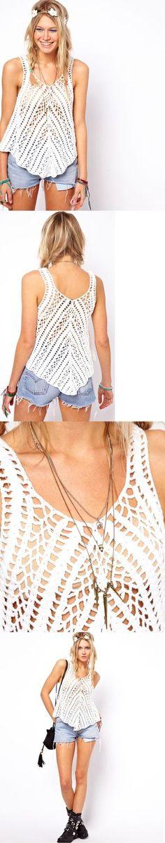 *** Crochet Vila torcida balanço Regata. Feita em 100% algodão puro. Crochet projeto malha com uma mão macia sentir. Colher decote e nas costas. Forma balanço solto.