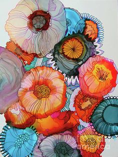 Orange And Blue Bouquet Greeting Card for Sale by Wendy Westlake