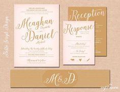 Bella Script Calligraphy Wedding Invitation Set // Blush and Gold Wedding Invites, DIY Printable Wedding Invitation