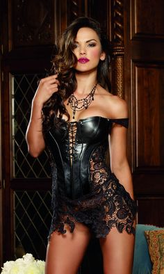 Dreamgirl Faux Leather & Venice Lace Corset £45.99