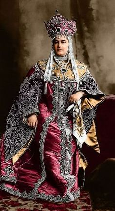 1903 costume ball in the Winter Palace, St. Petersburg, Russia. Grand Duchess Maria Pavlovna (senior) in a boyarynya (a noble woman in medieval Russia) fancy dress on the fashion of the 17th century.