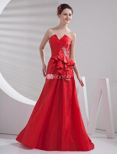 Gorgeous Red Taffeta Strapless A-line Prom Dress. Strapless adorned by cut out in the middle adds the glamorous feeling. Ruched into the side of the waist and form a ruffle design, accenting your gorgeous status. A-line silhouette shows your slim curves perfectly.Product De.. . See More Strapless at http://www.ourgreatshop.com/Strapless-C937.aspx