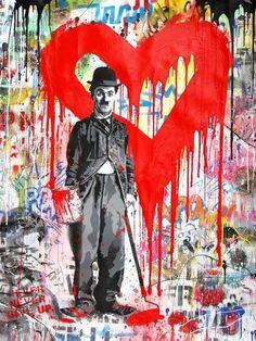 Available for sale from Zemack Contemporary Art, Mr. Brainwash, Chaplin Silkscreen and Mixed Media on Paper, 127 × 96 cm 3d Street Art, Street Art Graffiti, Mr Brainwash Art, Tableau Pop Art, Graffiti Wall Art, Graffiti Artists, Graffiti Lettering, New York Graffiti, Sidewalk Chalk Art