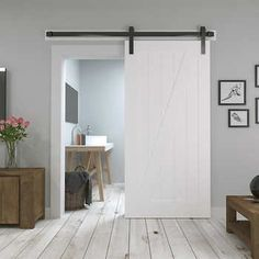 Nowadays the existence of sliding doors is increasingly popular among designers and homeowners. This is because sliding doors not only offer better utiliza Sliding Door Design, Sliding Barn Door Hardware, Diy Barn Door, Sliding Doors, Farmhouse Interior, Interior Barn Doors, Barn Door Designs, Wood Doors, Interior Design Living Room