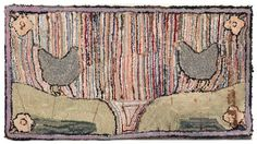Hooked Rug ... Chickens ... American ... Early 20th C