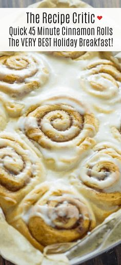 Laura made these.Quick 45 Minute Cinnamon Rolls is made with homemade dough, filled with ground cinnamon and a brown sugar mixture rolled and baked in less than an hour. Drizzle a sweet glaze over top making this the VERY BEST holiday breakfast! Quick Cinnamon Rolls, Cinnamon Bun Recipe, Pioneer Woman Cinnamon Rolls, Overnight Cinnamon Rolls, Quick Rolls, Breakfast Dishes, Brunch Recipes, Baking Recipes, Ground Cinnamon