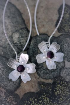 Earrings | Paarma Design  Moss campion  Blooming carpet of the Arctis with amethyst  128 e  www.paarmadesign.fi Finland, Amethyst, Carpet, Bloom, Jewellery, Earrings, Design, Ear Rings, Jewels