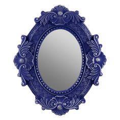 Espelho Oval Arabescos Azul e Prata