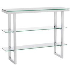 3 Shelf Glass And Metal Console Table