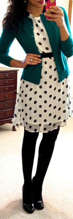 need: black and white dress colored cardigan black tights black shoes