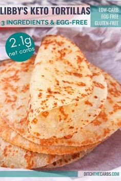 You've got to try Libby's amazing 3-ingredient keto tortillas - at only 2.1g net carbs, these bad boys will make you excited for Taco Tuesday again! #KetoTortillas #TacoTuesday #ditchthecarbs #lowcarbtortillas #ketobread #glutenfreetortillas #sugarfreerecipes #healthyrecipes #healthyfamilymeals