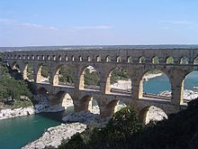 Pont du Gard between Nîmes and Orange - Aquaduct built to bring water from the hills to the north crossing the River Gard between Uzes and Remoulins.