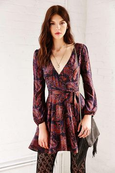 Ecote Ruby Paisley Mini Wrap Dress - Urban Outfitters from Urban Outfitters.