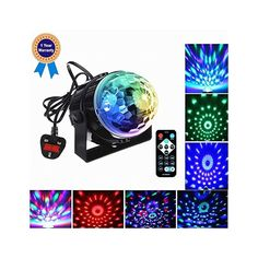 Emwel Mini Disco DJ Stage Lights 3W LED RGB Sound Actived Crystal Magic Rotating Glitter Ball Lights Effect For KTV Xmas Party Wedding Show Club Pub Color Changing Lighting Strobe Lights [with REMOTE and UK Plug] #music #instruments #amazon
