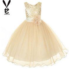 2015 hete verkoop champagne bloem meisje jurk optocht bruiloft bruidsmeisje jurk dans in     van Jurken op AliExpress.com | Alibaba Groep