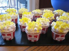 movie themed party Order cupcakes with white frosting and add mm and dust with yellow sugar
