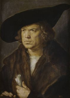 'Portrait of an Unknown Man' - Author: Dürer, Albrecht - Procedence Royal Collection -- In a masterful psychological study, the painter brings out the facial features, emphasizing the severe wince of the lips and the concentrated gaze, which capture his authoritarian, distrustful character. The study of light, the way the bust is brought out over a neutral background, and the reduced space, multiply the sense of contained energy, making this one of Dürer's most intense portraits.