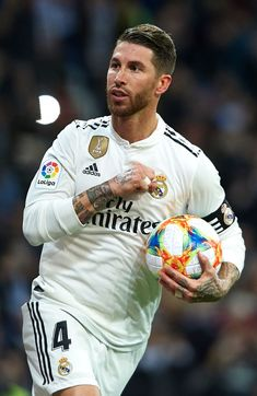 Sergio Ramos of Real Madrid celebrates after scoring his side's. Ramos Real Madrid, Real Madrid Logo, Real Madrid Players, Football Icon, Real Madrid Football, Football Is Life, Messi And Ronaldo, Cristiano Ronaldo, Girona Fc