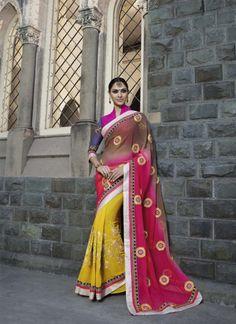 Fair Pink, Brown and Yellow Designer Saree - shopneez.com