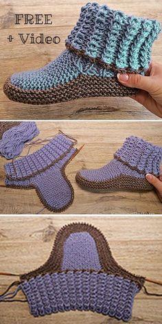 .  Envuelva el hilo de trabajo, es decir, el hilo unido a la pelota, en el dorso de la mano izquierda y en la palma. Mantenga el hilo de la cola, es decir, el extremo corto inactivo del hilo apagado por ahora. #Adult #Free #ideas de tejer #Knit #knitting #Pattern #Ribbed #Slippers #VIDEO Easy Crochet Slippers, Knit Slippers Free Pattern, Crochet Slipper Pattern, Crochet Socks, Knit Crochet, Knitted Hats, Crochet Granny, Bunny Slippers, Slipper Socks