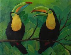 Título:Tucanes. Artista:William de Jesus Gonzalez Vasquez. Precio:U$540. Obtiene 25% menos en el costo de envío. Técnica:Oleo sobre Lienzo. Año:2009. Lugar:Managua.