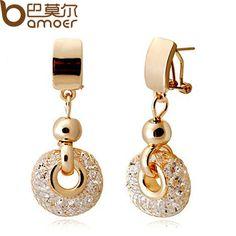Bamoer luxury rose gold drop earrings champagne kawat zircon kristal wanita fashion jewelry jse019