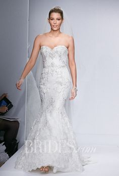 """Watters - Spring 2014. Style 5014, """"Olina"""" strapless fit and flare wedding dress in lace, Watters"""