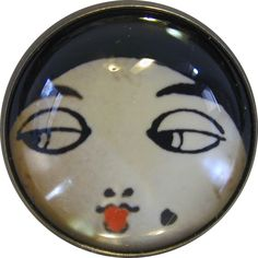 """Crystal Dome Button Roaring 20s Flapper Girl - """" Noir """""""