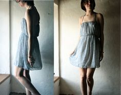 Blue strapless chiffon dress - halter gathered tunic dress - knee length mini dress. €90.00, via Etsy.