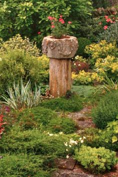"""""""Stump"""" naturally has a negative connotation in our minds.  Here are a few tips on how to make that old tree stump a welcomed addition to your backyard. If you have any DIY brilliance to share we'd love for you to join the conversation using #backyardDIY. credit:This Old House"""