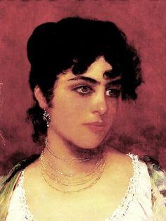 Young Italian Beauty, Blaas, Eugene de, Oil on cradled panel, 24.8 x 36.8 cm