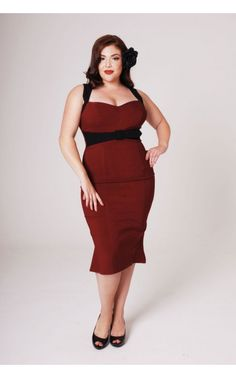 The Jessica Wiggle Dress in Burgundy with Black Trim by Pinup Couture - Plus Sizes   Pinup Girl Clothing