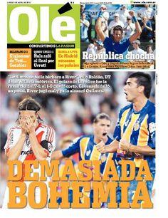 Lunes 9 de Abril de 2012. http://www.ole.com.ar/la-tapa/