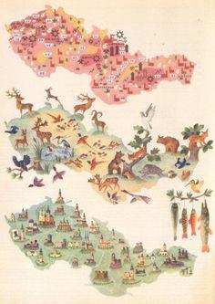 Hand Painted Maps of Czechoslovakia (1957)