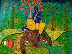 ' The supreme controller is Lord Krishna. (Brahmas Samhita) ' - Painted by Artist Arti Vohra Krishna, Mythology, Indian, God, Type, Painting, Dios, Painting Art, Paintings