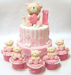 Forever Friends. Pink and white baby girl's 1st birthday #cake & #cupcakes. Absolutely adorable teddy bears!