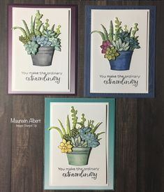 Paper Succulents, Potted Succulents, Bloom Where Youre Planted, Stampin Up Catalog, Stamping Up Cards, Paper Cards, Cool Cards, Creative Cards, Flower Cards
