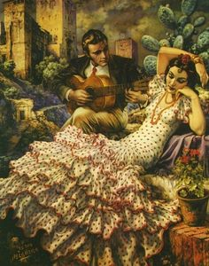 Jesús Helguera (May 1910 – December was a Mexican painter… Mexican Artwork, Mexican Paintings, Mexican Folk Art, Mexican Style, Spanish Dancer, Spanish Art, Spanish Style, Spanish Eyes, Spanish Heritage