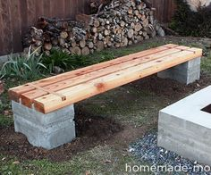 My parents wanted a bench to go with the concrete fire pit that I made for them. I decided to reuse the wooden forms from that project to make the bench. The bench consists of two blocks of concrete made of Quikrete 5000 and three 8-foot long 4x6s that I got from the Home Depot. Four 4x4s would have worked just as well. I did this project in Southern California, so frost heave isn't a problem, which is why I was able to place the bench without digging deeper. The wood isn't actua...