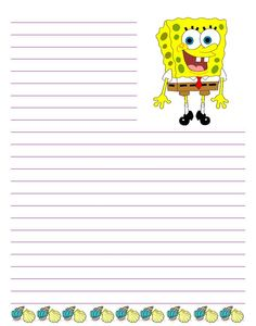free custom writing paper choose images like sponge bob curious george and thomas - Papers For Kids